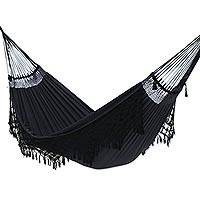 Reversible cotton hammock, 'Ipanema Midnight' (double) - Black Cotton Double Hammock Crafted in Brazil