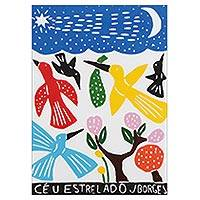 'Starry Sky' - Colorful Starry Sky Woodcut Print by J. Borges in Brazil
