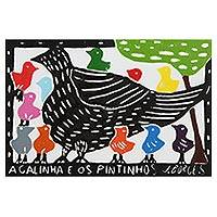 'The Hen and Her Chicks' - Bird Family Multicolor Woodcut Print by J. Borges in Brazil
