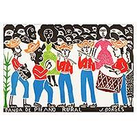 'Rural Fife Band I' - Fife Band Portrait Multicolor Woodcut Print by J. Borges