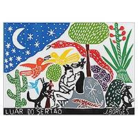 'Moon in the Back-Country' - Brazil Eden Landscape Multicolor Woodcut Print by J. Borges