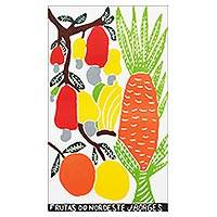 'Fruits of Brazil's Northeast' - Brazil Tropical Fruit Color Woodcut Print by J. Borges