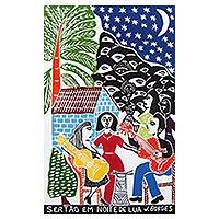 'Back-Country in Moonlight' - Small Town Serenade Color Woodcut Print by J. Borges Brazil