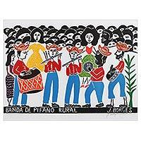 'Rural Fife Band II' - Multicolor Fife Band Portrait Woodcut Print by J. Borges