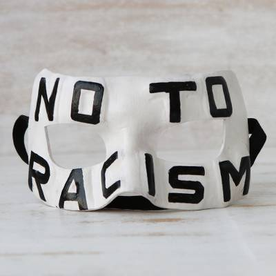 Leather mask, 'No To Racism' - Anti-Racism Leather Mask from Brazil
