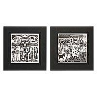 Ceramic tiles, 'Weekday and Weekend' (pair) - Set of 2 Framed B&W Brazil Woodcut Print on Ceramic