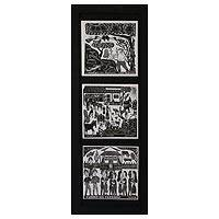 Ceramic tiles, 'Northeast Day and Night' - Framed 3 B & W Brazilian Woodcut Print Trio on Ceramic