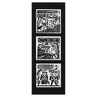 Ceramic tiles, 'Daily Life and Legend' - 3 Framed B&W Brazil Woodcut Print Trio on Ceramic Tiles