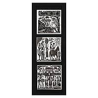 Ceramic tiles, 'Life in the Northeast' - Framed B&W Brazilian Woodcut Print Trio on Ceramic