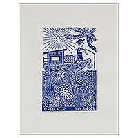 'The Fisherman' - Fisherman and Boat Blue and White Brazilian Woodcut Print