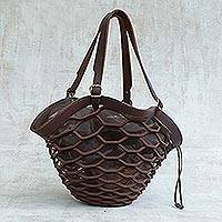 Leather shoulder bag, 'Espresso Sambura' (18 inch) - Dark Brown Shoulder Bag Handmade in Brazil (18 inch)