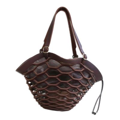 Dark Brown Shoulder Bag Handmade in Brazil (18 inch)