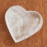 Quartz sculpture, 'Balanced Heart' - Clear Crystal Quartz Heart Sculpture