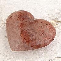 Quartz sculpture, 'Fiery Heart' - Red Hematoid Quartz Heart Sculpture from Brazil