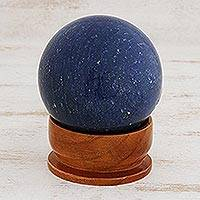 Quartz sphere sculpture, 'Blue Horizon' - Blue Quartz Sphere on Wood Base
