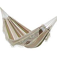 Cotton hammock, 'Isle of Palms' (double) - Striped Cotton Hammock in Earth Tones (Double)