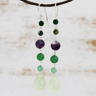 Multi-gemstone dangle earrings, 'Balance and Clarity' - Sterling Silver and Multi-Gemstone Earrings