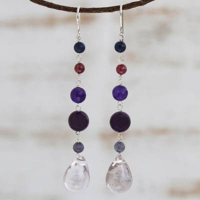Multi-gemstone dangle earrings, 'Balance and Calm' - Multi-Gemstone Long Dangle Earrings