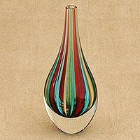Art glass vase, 'Circus' (9 inch) - Hand Crafted Murano-Inspired Art Glass Vase (9 Inch)