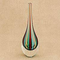 Art glass vase, 'Circus' (12 inch) - Murano-Style Art Glass Striped Vase (12 Inch)