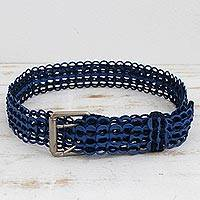 Soda pop-top belt, 'Eco-Conscious Blue' - Recycled Soda Pop-Top Belt in Blue