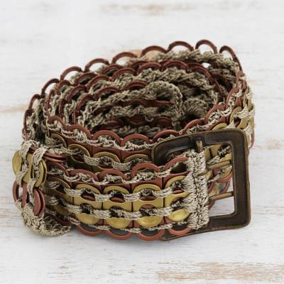Soda pop-top belt, 'Eco-Conscious Bronze and Gold' - Recycled Pop-Top Belt in Bronze and Gold