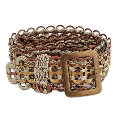 Soda pop-top belt, 'Eco-Conscious Bronze and Gold' - Recycled Pop-Top Belt in Bronze and Gold