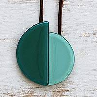 Art glass and leather pendant necklace, 'Smooth Seas' - Azure and Sea Green Glass Pendant Necklace