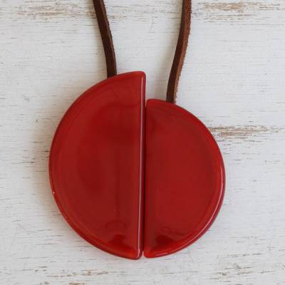Art glass and leather pendant necklace, 'Scarlet Planes' - Art Glass Pendant Necklace on Leather Cord