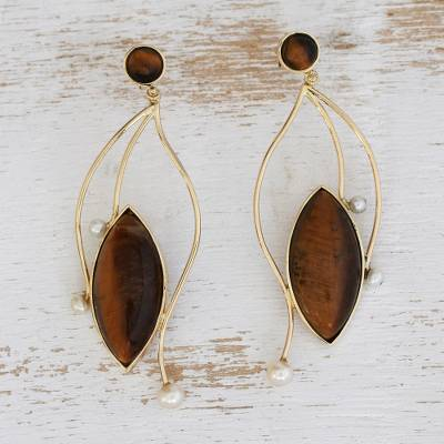 Gold tiger's eye and cultured pearl dangle earrings, 'Unleashed' - 18k Gold and Tiger's Eye Statement Earrings