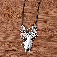 18k gold and diamond pendant, 'Michael the Archangel' - Brazil Artisan Crafted Sterling Silver Angel Necklace