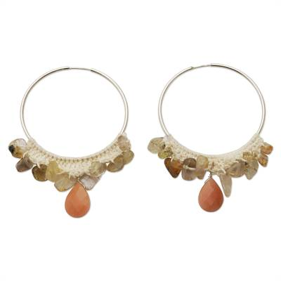 Brazilian Peach Agate & Rutile Quartz Silver Hoop Earrings