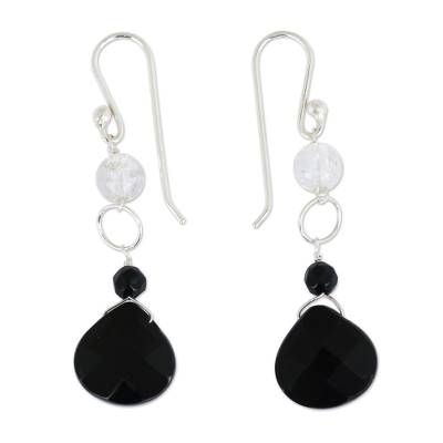 Black Agate and Crystal Quartz Earrings from Brazil