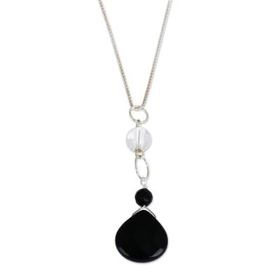 Black Agate and Crystal Quartz Necklace from Brazil
