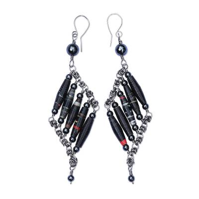 Recycled Magazine and Hematite Earrings