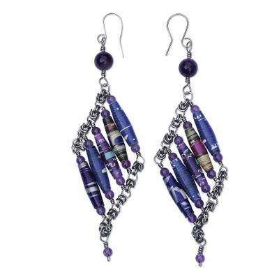 Handcrafted Amethyst and Recycled Paper Earrings