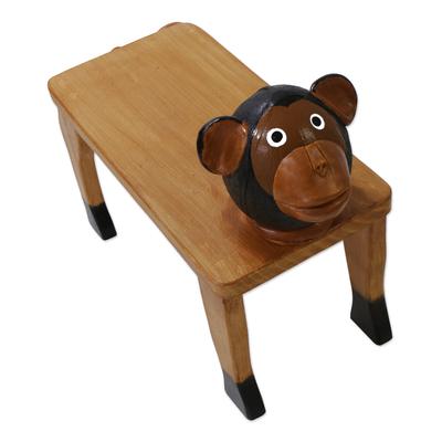 Monkey Decorative Wood Bench Accent