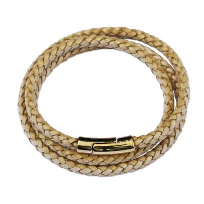 Gold-accented leather wrap bracelet, 'Golden Fortune' - Natural Leather and 18k Gold Plated Wrap Bracelet