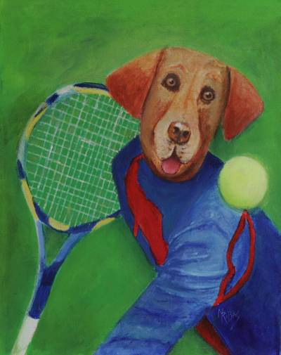 Mixed Media Painting of Tennis Playing Dog from Brazil