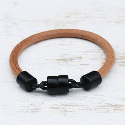 Leather wristband bracelet, 'Natural Encounter' - Contemporary Leather Bracelet with Graphite-Plated Clasp