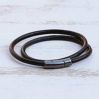 Leather cord wrap bracelet, 'Black and Grey Urban Confidence' - Brazilian Black & Graphite Leather Cord Wrap Bracelet