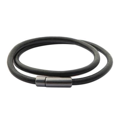 Leather cord wrap bracelet, 'Black and Grey Urban Confidence' - Brazilian Black & Graphite Leather Cord Wrap Bracelet