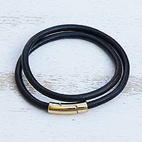 Leather cord wrap bracelet, 'Black and Gold Urban Confidence' - Brazilian Black & Golden Leather Cord Wrap Bracelet