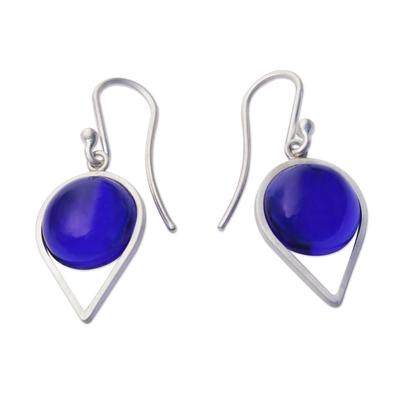 Brazilian Blue Obsidian and Sterling Silver Dangle Earrings