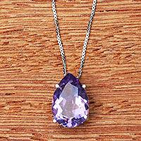 Rhodium plated amethyst pendant necklace, 'Love Drop' - Brazilian Amethyst and Rhodium Plated Silver Necklace