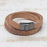 Leather wrap bracelet, 'Carioca Chic' - Wrap Bracelet in Buff-Colored Leather