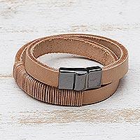 Leather wrap bracelet, 'Carioca Chic'