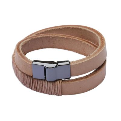 Leather wrap bracelet, 'Carioca Chic' - Wrap Bracelet in Buff-Colored Leather