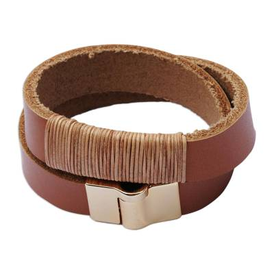 Gold accented leather wrap bracelet, 'Rio Rustic' - Brazilian Leather Wrap Bracelet in Saddle Brown