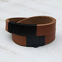 Leather wrap bracelet, 'Ipanema Sunset' - Brown Leather Wrap Bracelet with Magnetic Clasp